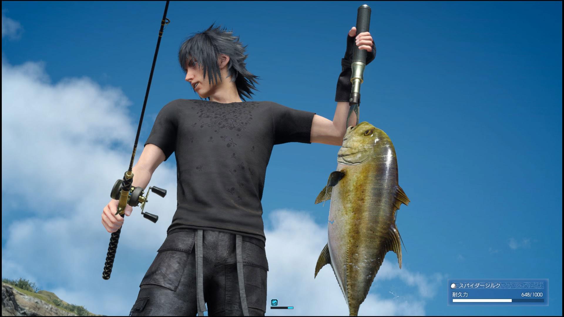 餌やルアーだけなら一般的な釣りゲームですが、ロッドからラインリード、リールに至るまで準備されているFF15の釣り。