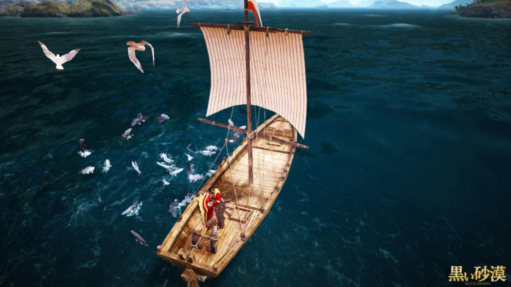黒い砂漠_漁船とカモメ